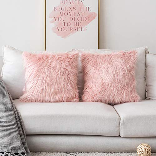 Deluxe Home Decorative Super Soft Plush Mongolian Faux Fur Accent Throw Pillow Cover Cushion Case for Bed, Set of 2 (18 x 18 Inch, Pink) (Fur Pillow Blush)