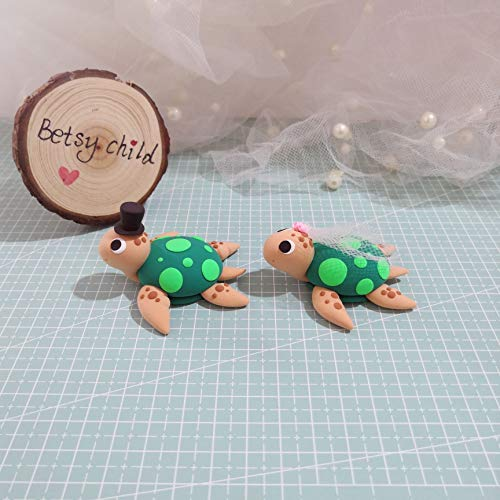 bride and groom Turtle wedding cake topper, handmade Polymer clay turtle, turtle decor for girls room ()