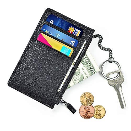 Slim Minimalist Wallet RFID Front Pocket Credit Card Holder for Men & Women Leather Wallet with Keychain (Card Wallet Key)