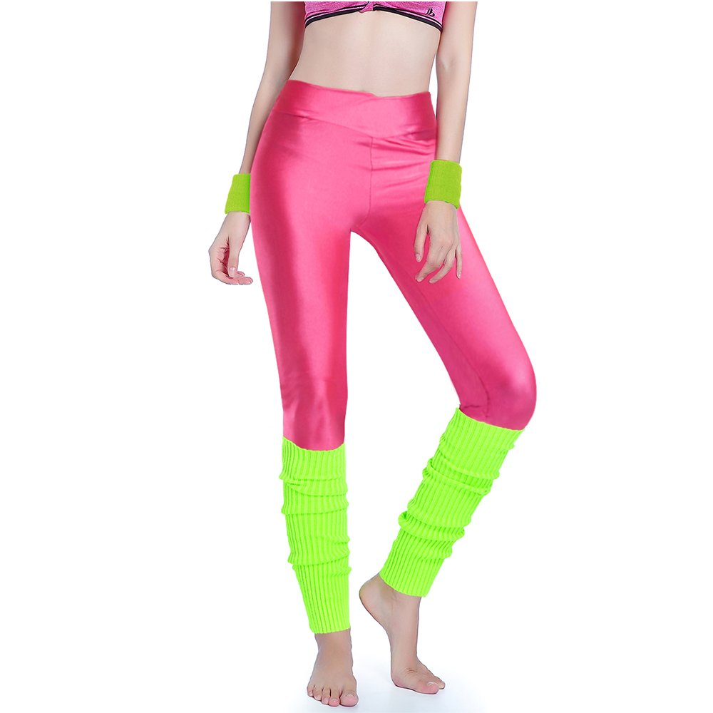 Kimberly's Knit Women 80s Party Neon Capri Running Workout Leggings Leg Warmers (One Size, V hotpink+briyellow)