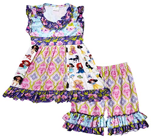 Boutique Toddler Girls Cartoon Character Disney Princess Snow White Ruffles Dress Shorts Outfit 4T/L