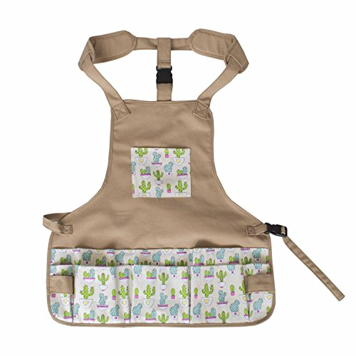 Canvas Garden Tool Apron Gardening Workers Apron for Women (Cactus)