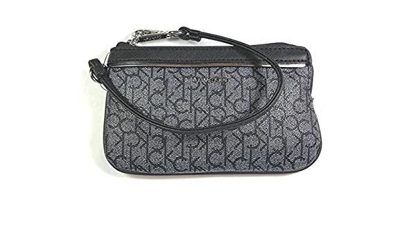 Amazon.com: Calvin Klein Monogram Small Wristlet Black White Silver: Shoes