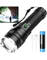 Rechargeable LED Flashlights 10000 High Lumens,Super Bright Tactical Flashlight with 21700 Battery and USB Cable,4 Modes,Zoomable,IPX5 Waterproof Handheld Flashlights for Emergency,Camping
