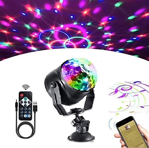 Party Lights Disco Ball,Sound Activated Party Lights 7 Color LED Strobe Light with Remote Control for for Home Parties Birthday Bar Karaoke Christmas Wedding Show Club(1 Pack,13ft USB Cable Included)