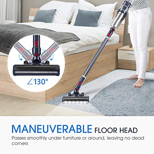 NOVETE Cordless Cleaner, with Suction 7 kPa HEPA 40-Minute Battery, LED and Wall