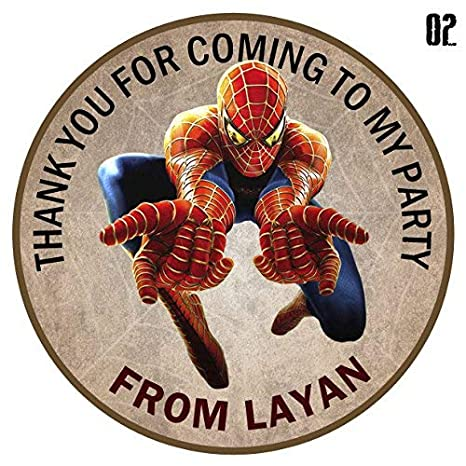 15 design buddies Personalised Super Marvel Hero 50mm 2 Party Stickers thank you labels,thank you for coming to my party labels