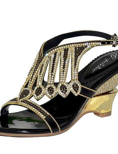 Scarpe Casuale Shangyi Del Argento Da amp; Sandali Tallone Partito D'oro Talloni Sera Grosso Vestito Donna In Pelle Oro Nero rqrWxwa6zI