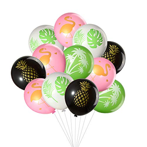 TUPARKA 60Pcs Tropical Balloons, Flamingo Tropical Leaf Pineapple Balloons for Hawaii Luau Party Wedding Birthday Theme Party Decorations -