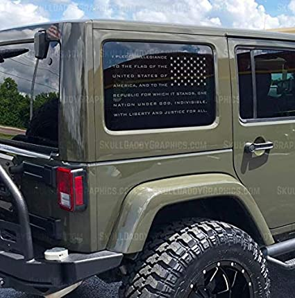 Skull Daddy Graphics JL JK JKU Window USA Pledge Flag Decals Stickers to  fit Jeep Wrangler 2011-2019 (Matte Black - Pass Sides)