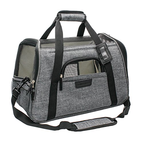 Living Express Premium Airline Approved Foldable Pet Travel Carrier, Soft Sided Tote with Fleece Puppy Bedding & Safety Lock, Under Seat Crate Compatibility, Perfect for Cats and Dogs (L, Grey)