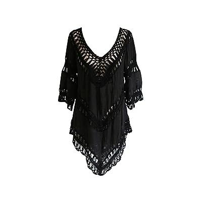 Paréo Femme Cotton Crochet V Neck Robe de Plage Bikini Cover Up Chemise Maillot de Bain