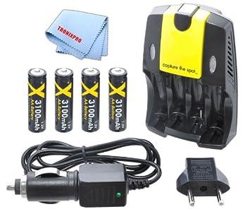 4 pilas AA Ultra de alta capacidad con cargador rápido de ...
