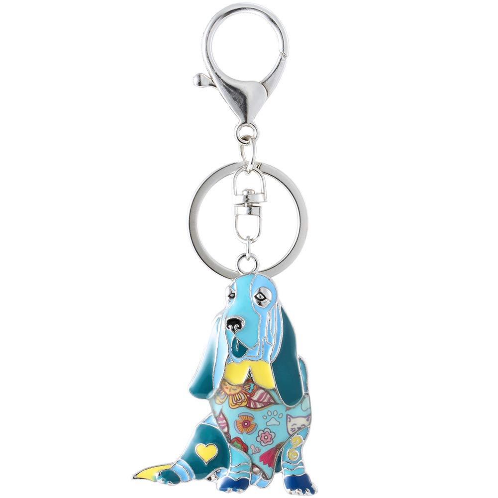 Marte&Joven Blue Basset Hound Gift Keychain for Dog Lover Unique Art Enamel Dog Charm Bags Keychains