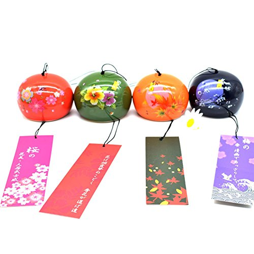 SUNONE11 4pcs Spring Summer Fall Winter Ceramic Wind Bell Garden Chime Birthday Christmas Gift Home Decors Window Hanging Ornaments
