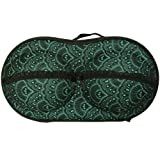 Wrapables Racy Bra Lingerie Travel Case with Inside Pocket, Green Fan Moti