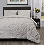 Master 3 Piece KING Size Pich Pleat Comforter Set Ivory Color - Decorative Pintuck Bed Cover Set for all Season by Cozy Beddings