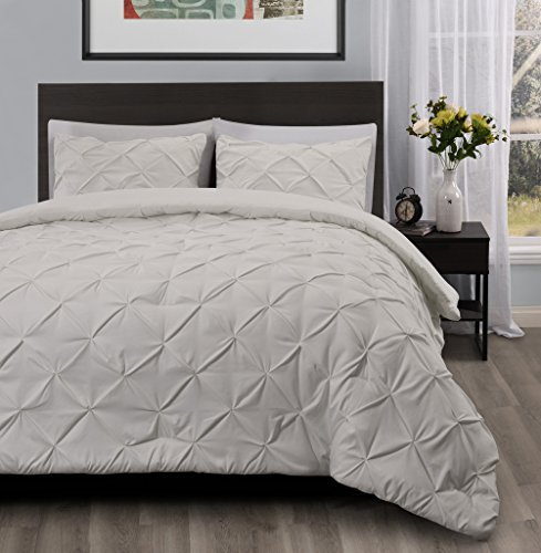 Master 3 Piece KING Size Pich Pleat Comforter Set Ivory Color - Decorative Pintuck Bed Cover Set for all Season by Cozy Beddings (Green And Cream Bedding Set)
