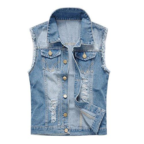 Chen Men's Retro Sleeveless Lapel Cowboy Denim Vest Jacket Waistcoat (US L(chest 42