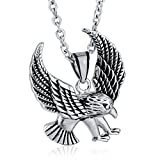 ANAZOZ Jewelry Stainless Steel Pendant for Men and Women Wings Fly Eagle Silver