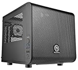 Thermaltake Core V1 SPCC Mini ITX Cube Gaming Computer Case Chassis, Interchangeable Side Panels, Small Form Factor Builds, Black Edition, CA-1B8-00S1WN-00