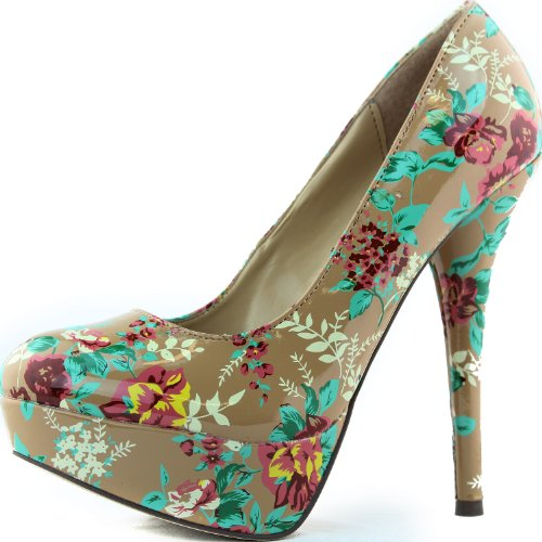 Toe 5 Shoes Angie Pumps Blush Floral 47 Womens 8 Blush BreckelleS Round Patent 7gqBaW0nw