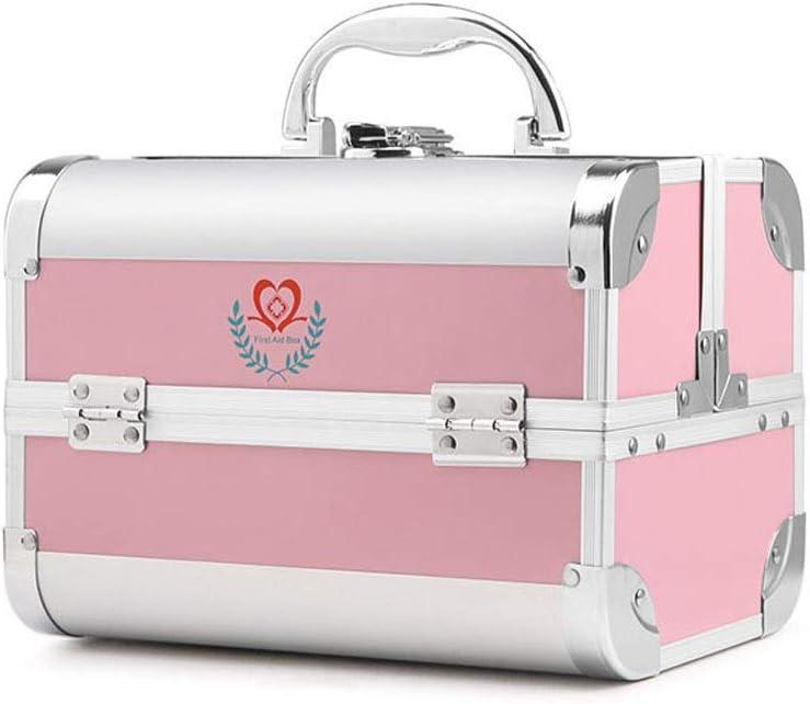 HAPzfsp 大型応急処置応急処置ボックス家庭用収納ボックス、3棚金属キット緊急キットオーガナイザー 家、オフィス、旅行、職場 (Color : ピンク) ピンク