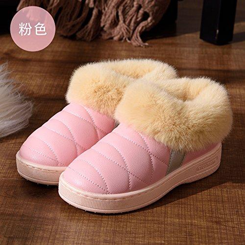 DogHaccd pantofole,Pelle pu Impermeabili di cotone invernale pantofole pacchetto con le coppie home soggiorno anti-slittamento spesso caldo inverno pantofole uomini e donne,Rosa36-37