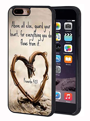 iPhone 7 Plus Case,Bible Verse Proverbs 4:23 Above All Else,Guard Your Heart,for Everything You do Flows from it Design Slim Anti-Scratch TPU Protective Cover for iPhone 7 Plus/iPhone 8 Plus 5.5 inch - Hearts Design Phone Cover