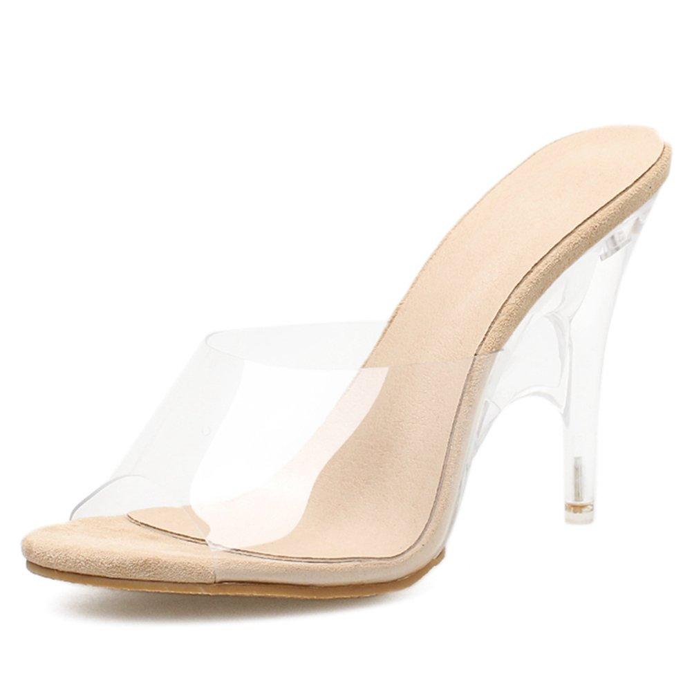 68e0266823e5 Amazon.com  SUNLEE Women Slippers Fashion High Heeled Women Strange Heels  Mules PVC Transparent Shoes Clear Open Toe  Sports   Outdoors
