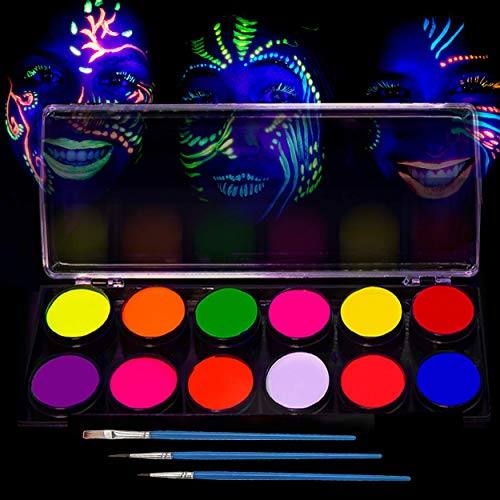 Glow in The Dark Paint – UV Fluorescent Face, Body & Fabric Paint – 12 x 10ml Professional Best Quality Paints - Glow in The Dark Blacklight Reactive Costume Makeup Party Supplies - Free Stencils