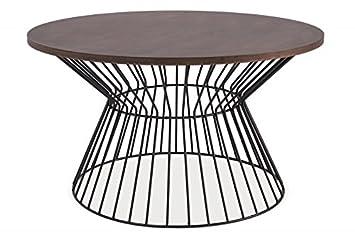 Couchtisch Beistelltisch Steel II Holztisch Walnuss Wohnzimmertisch Metall Schwarz 82x82cm