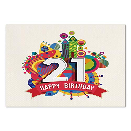 Large Wall Mural Sticker [ 21st Birthday Decorations,Colorful Design Happy Birthday Image with Geometric Castle Print,Multicolor ] Self-adhesive Vinyl Wallpaper / Removable Modern Decorating Wall Art ()