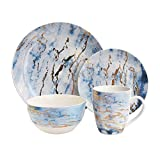 "American Atelier 7089-16-RB Marble 16 Piece Round Dinnerware Set 10.5"""" x 10.5"" Blue/Gold"