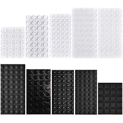 Rubber Feet Bumpers Pads, 404 Pcs QIUYE Self Adhesive Stick Bumper for Glass Table Top, Speakers, Electronics, Furniture, Cabinet, Clear and Black, 7 Different Sizes by QIUYE