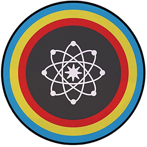 (Printing Round Rug,Science Decor,Atom Model with Colorful Circles Molecule Chemistry Biology Physics Lab Orbit Mat Non-Slip Soft Entrance Mat Door Floor Rug Area Rug for Chair Living Room,Multicolor )