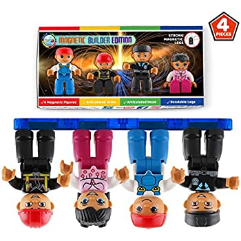 Magnetic Figures Set of 4 Toddlers Community Action Toy People, Magnetic Tiles Expansion Pack for Boys and Girls Nurse, Builder, Fireman, Police Educational STEM Toys Add on Sets for Magnetic Blocks