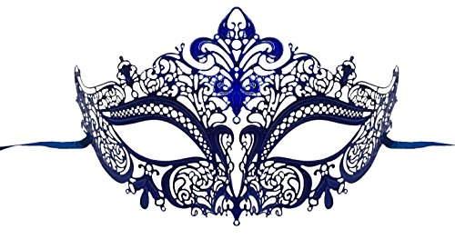 Luxury Mask Women's Laser Cut Metal Venetian Masquerade Crown Mask,Blue No Stones,One Size