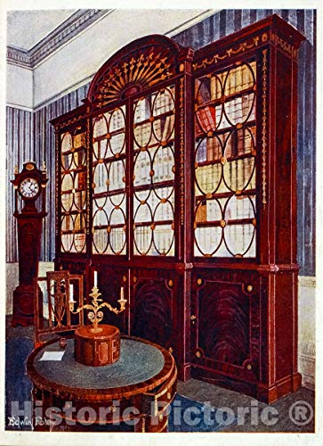 Historic Pictoric 1910 Print | Inlaid mahogany break-front bookcase. Designed by Thomas Sheraton | Vintage Wall Art | 11in x 14in