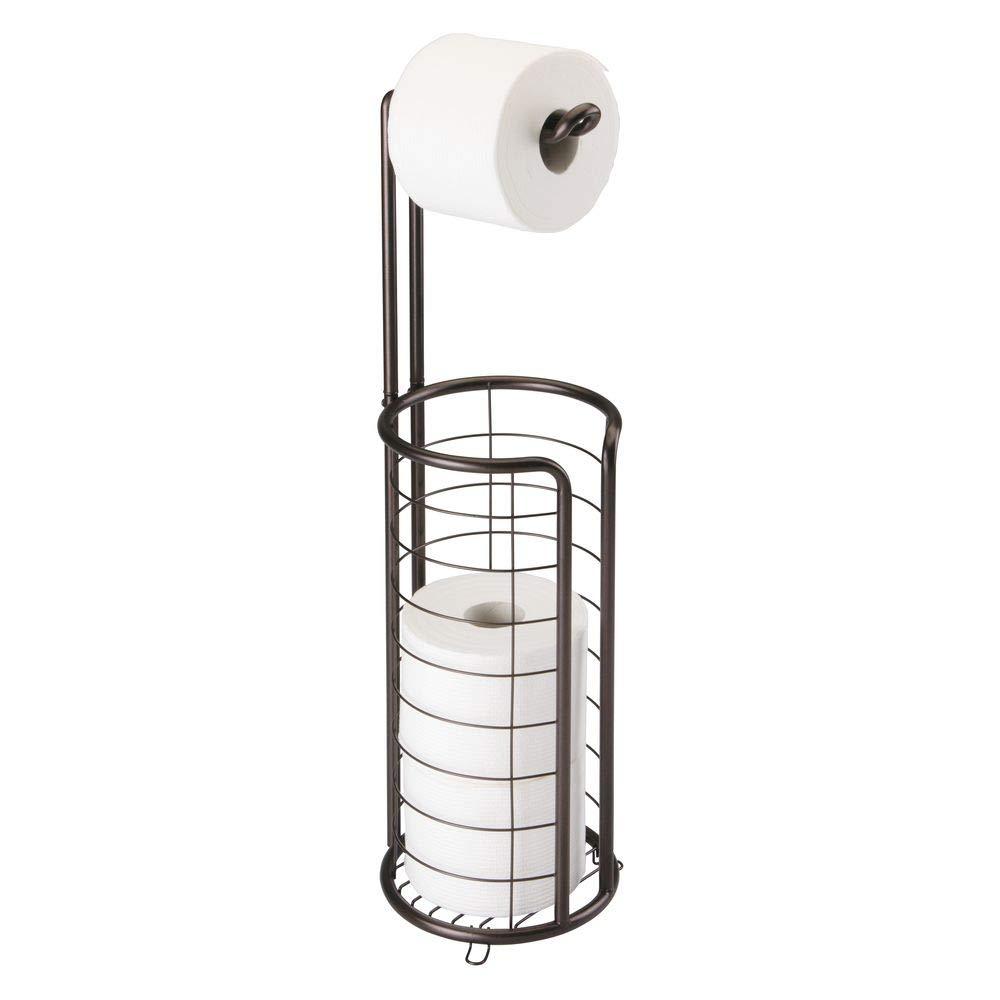 mDesign Portarrollos de Papel higi/énico autoportante Porta Rollos de pie con Capacidad para 4 Rollos de Papel higi/énico Elegante dispensador de Papel higi/énico de Metal Resistente Bronce