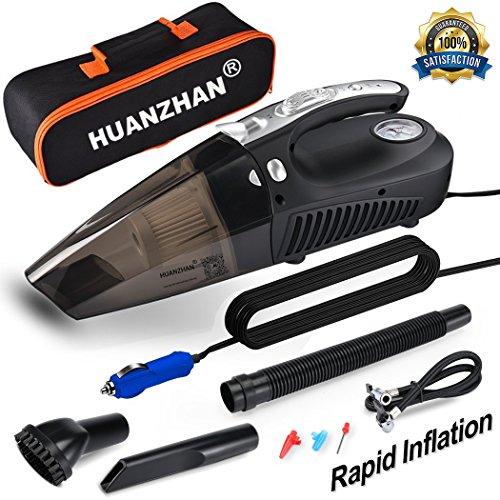 Car Vacuum Cleaner,H-Zonealph DC 12V 106W 5000 Pa Wet/Dry Car Vacuum Cleaner High Power,4 in 1 Handheld Vacuum--Portable Vacuum With Tire Inflator,Tire Pressure Gauge ,Floodlight - Upgraded(Black) 1 Vacuum Cleaner Hose