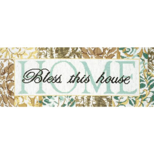 Tobin 14 Count Bless This House Counted Cross Stitch Kit, 7 by 18-Inch