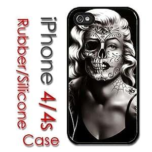 iPhone 4 4S Rubber Silicone Case - Marilyn Monroe Dia de Los Muertos md2 hjbrhga1544