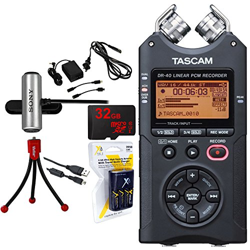 Tascam Portable Digital Recorder (DR-40) w/Bundle + 32GB Micro SD Card +AA Charger (100-240v) w/ 4 2950mah AA Batteries + Flexible Mini Table-top Tripod +Omnidirectional Stereo Microphone +AC Adapter by Beach Camera
