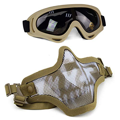 Aoutacc Airsoft Mask and Goggles Set, Half Face Full Steel Mesh Mask and Goggles for CS/Hunting/Paintball/Shooting(Tan Skull) ()