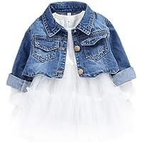 2 Piezas Bebé Niñas Conjuntos de Ropa Manga Larga Vestido Tutú Y Chaqueta de Mezclilla Jacke Primavera Otoño Blanco 2-3…