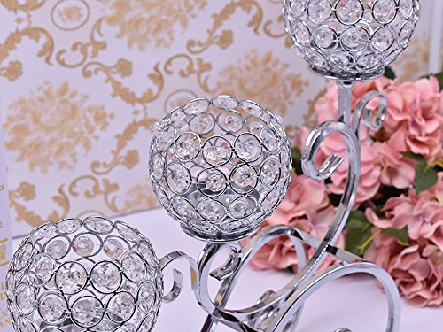 European Style Decorative Candle Holders - Siliver Candle Lantern Wedding - Crystal Candleabra for Romantic Candlelight Dinner- Modern holder candle 14in.