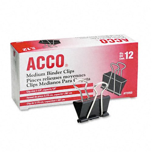 "ACCO : Medium Binder Clips, Steel Wire, 5/8"" Cap., 1-1/4""w, Black/Silver, Dozen -:- Sold as 2 Packs of - 12 - / - Total of 24 Each free shipping"