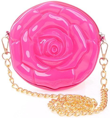 MISASHA Flower Crossbody Fashion Bag for Girls (Hot Pink) Trendy Jelly Purse with Gold Chain | Teens, Youth | Fun, Colorful, (Tomboy Halloween Costumes)