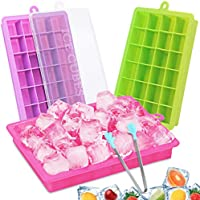 CAVN Ice Cube Tray, 3 Packs Silicone Ice Cube Tray Food Grade Ice Molds with No-Spill Removable Lid, 72 Ice Moulds for...